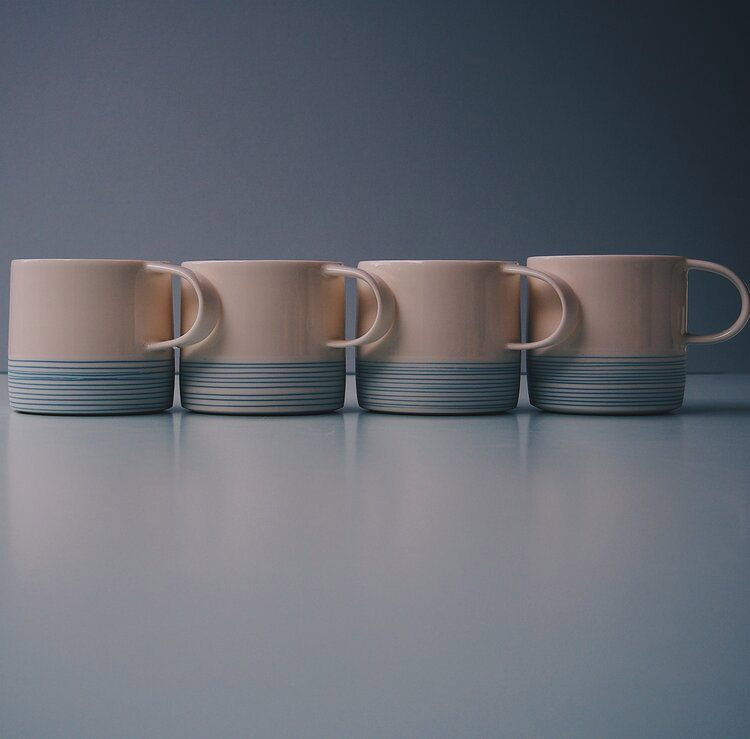 Handmade Porcelain Mugs (Azure lines) by By the Line Pottery